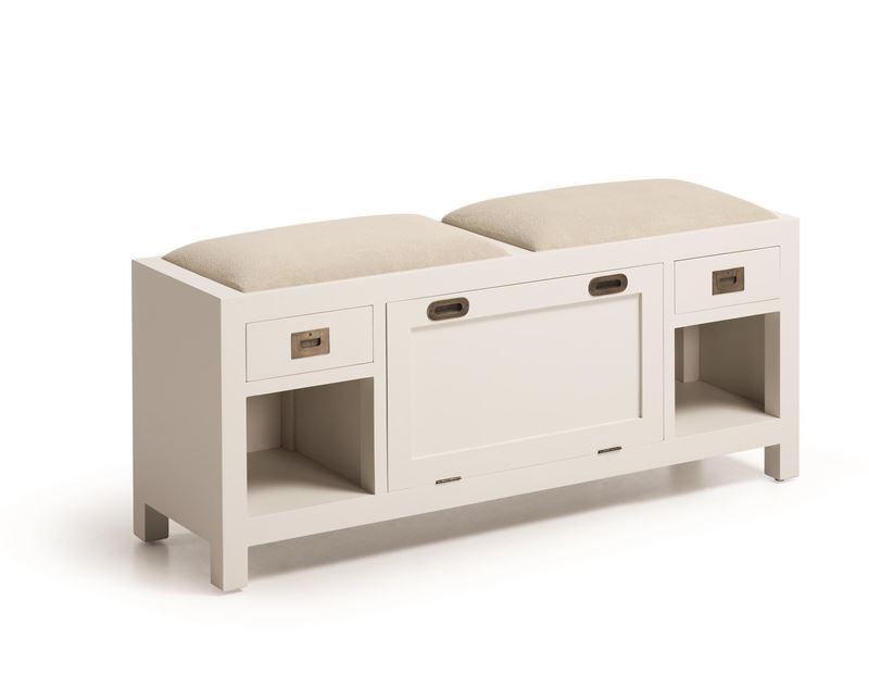Banco de madera con zapatero y asientos tapizados 125 x 35 for Banco zapatero madera