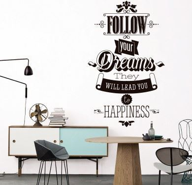 Vinilo texto negro Follow Your Dreams - Imagen 1
